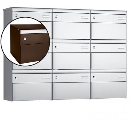 Stebler 9-er Briefkastengruppe s:box 13 Q, 3x3, Schokoladenbraun, Wandmontage