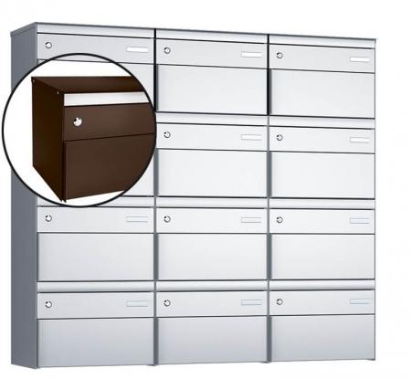 Stebler 12-er Briefkastengruppe s:box 13 Q, 3x4, Schokoladenbraun, Wandmontage