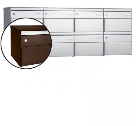 Stebler 8-er Briefkastengruppe s:box 13 Q, 4x2, Schokoladenbraun, Wandmontage