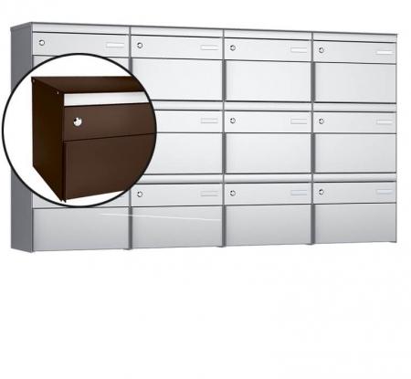 Stebler 12-er Briefkastengruppe s:box 13 Q, 4x3, Schokoladenbraun, Wandmontage