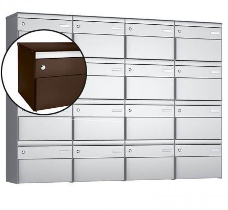 Stebler 16-er Briefkastengruppe s:box 13 Q, 4x4, Schokoladenbraun, Wandmontage