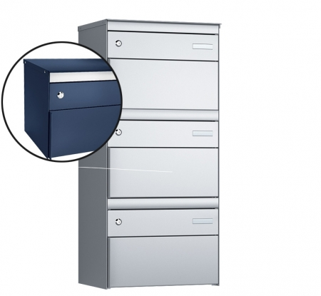 Stebler 3-er Briefkastengruppe s:box 13 Q, 1x3, Saphirblau, Wandmontage