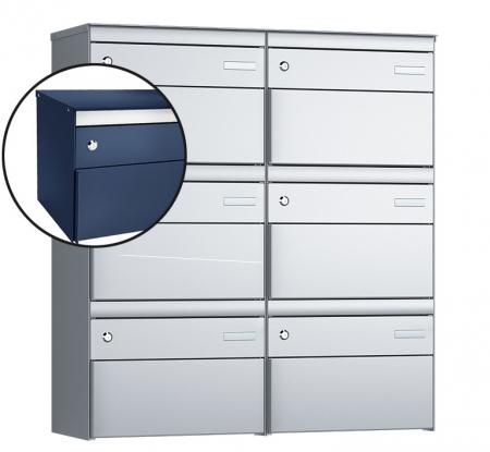 Stebler 6-er Briefkastengruppe s:box 13 Q, 2x3, Saphirblau, Wandmontage