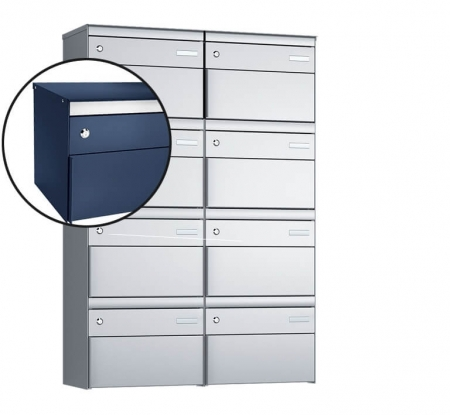 Stebler 8-er Briefkastengruppe s:box 13 Q, 2x4, Saphirblau, Wandmontage
