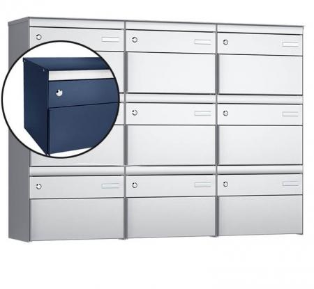 Stebler 9-er Briefkastengruppe s:box 13 Q, 3x3, Saphirblau, Wandmontage