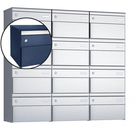 Stebler 12-er Briefkastengruppe s:box 13 Q, 3x4, Saphirblau, Wandmontage