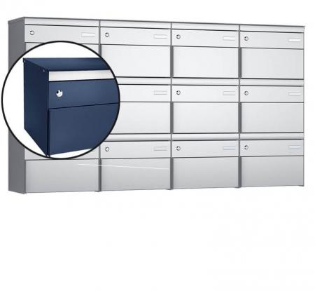 Stebler 12-er Briefkastengruppe s:box 13 Q, 4x3, Saphirblau, Wandmontage