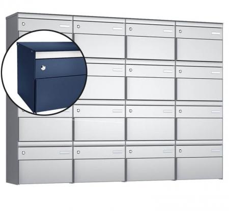 Stebler 16-er Briefkastengruppe s:box 13 Q, 4x4, Saphirblau, Wandmontage