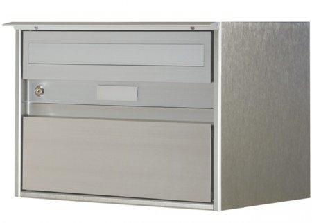 Briefkasten Alu 400 eloxiert Klass.-Front, Regenschutz Freistehend / Sockelmontage von Huber