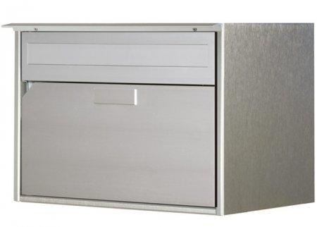 Briefkasten Alu 400 linox Flache-Front eloxiert, Regens. Freistehend / Sockelmontage von Huber