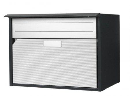 Briefkasten Alu 400, anthrazit Dessinal-Front Freistehend / Sockelmontage von Huber