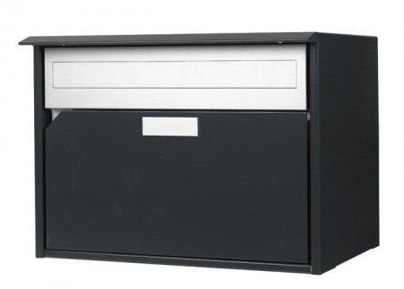Briefkasten Alu 400 anthrazit Flache-Front Wandmontage von Huber