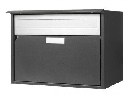 Briefkasten Alu 400 grau metal Flache-Front Freistehend / Sockelmontage von Huber