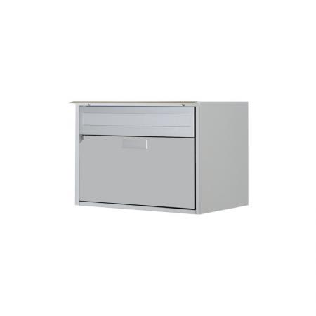 Briefkasten Alu400 weissalu RAL 9006 Freistehend / Sockelmontage von Huber