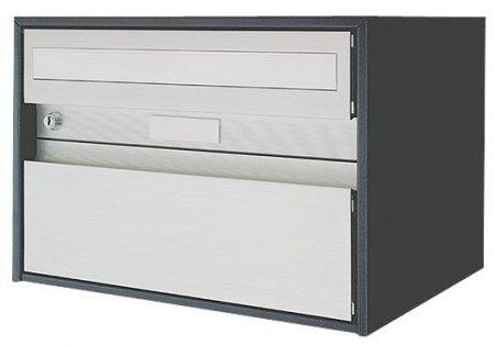 Briefkasten Alu 400 grau metallic Freistehend / Sockelmontage von Huber