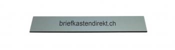 Schweizer Gravurschild / Briefkastenschild silber 119 x 25 mm für Briefkasten